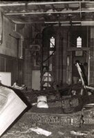 St. Thomas sustained a major fire in 1984, it is believed to have started in the Church Organ. The photograph shows the server damage done to the Church by the Fire.