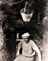 A miner during the 192 miners strike at the Dog Kennels (Holyhurst Terrace) Riddings trying to find coal for their home fires