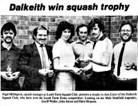 Dalkeith team win wins squash trophy August 1982