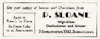 P. Sloane Confectioner & Grocer Somercotes Hill Newspaper Advertisement.
