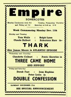 Magazine advertisement for the Empire Cinema at Somercotes for the 8th to 17th December 1950.
