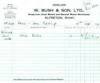 Sales Invoice for W. Bush & Son Ltd. Scrap Metal Merchant Birchwood Lane, Somercotes.